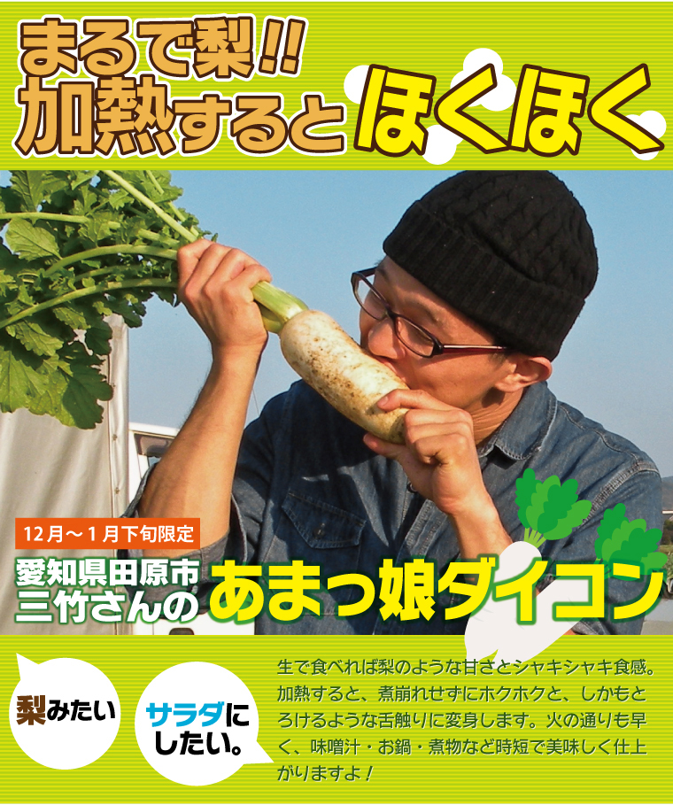まるで梨?加熱するとほくほく。愛知県田原市三竹さんのあまっ娘ダイコン