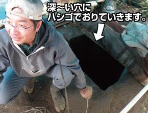 ウドの室(ムロ)。深い穴にはしごで降りていきます。